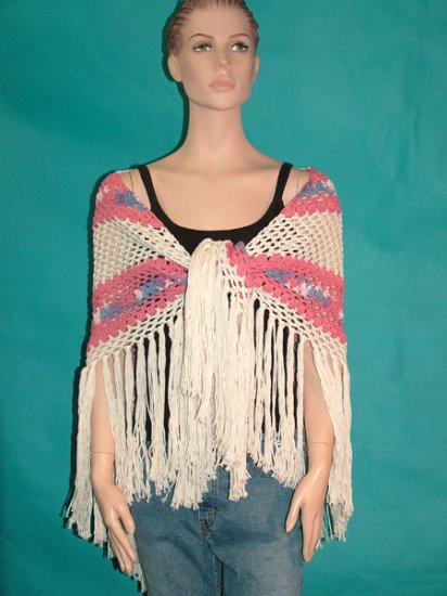 KNC Hand Crochet Traditional Cotton Shawl Rose Pink+