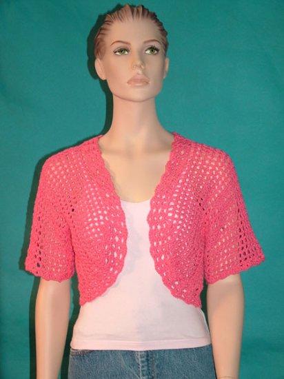 KNC Hand Crochet Shell Bolero Blossom Pink  Sz Small