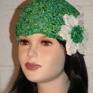 KNC Hand Crochet Ribbon 'n Rose Cloche Emerald Isle