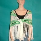 KNC Hand Crochet Traditional Cotton Shawl Mint Mix