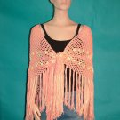 KNC Hand Crochet Traditional Cotton Shawl Peach Mix