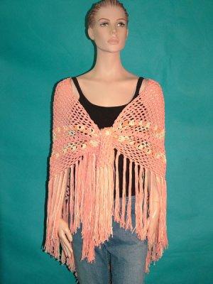 KNC Hand Crochet Traditional Cotton Shawl Peach Mix