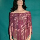 KNC Hand Crochet Jungle Rose Poncho Wool Mix - Dark Rose Heather
