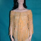 KNC Hand Crochet Jungle Rose Poncho Wool Mix - Butterscotch