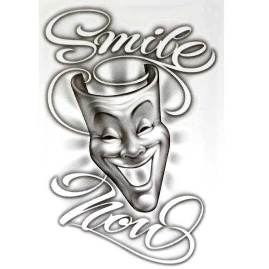 Og abel realistic temporary tattoo smile now for Smile more tattoo
