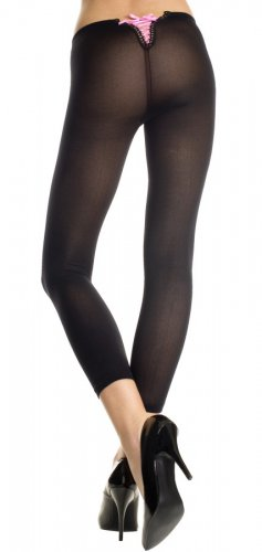 Black Opaque Footless Leggings with Mini Lace-Up Back
