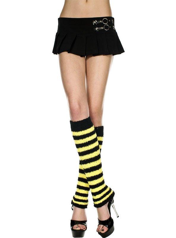 Punk Goth Black and White Striped Knee-Hi Fuzzy Leg Warmers New