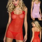 Plus Size Pink Sexy Softmesh Chemise w/ G String