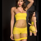Black Punk Rave Fishnet Mini Dress w/ Shorts and Top