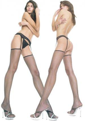Fishnet Thigh Hi With Attached Garterbelt in Black