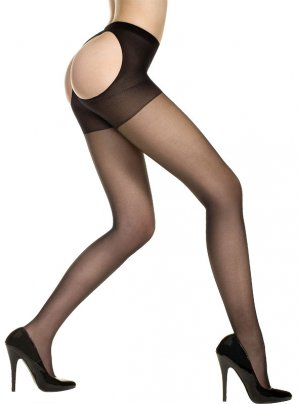 Sexy Opaque Pantyhose with Open Back in Black