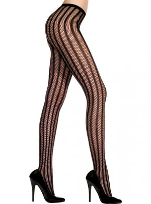 Black Gothic Costume PantyHose with Net Design and Opaque Stripes