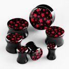 Pair of Punk Goth Black Flared Gauge Ear Plugs with Mini Red Stars in 2g / 6.5mm