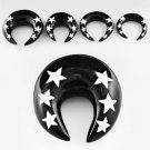 Pair of Punk Black Horn Ear Plug Taper Expanders Stars Design in 0g / 8mm