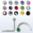 Stainless Steel Aurora Borealis-Rose Crystal Nose Stud Ring