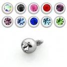 Set of 10 - 3mm Steel Ball Dermal Screw w/ Crystal Internally Threaded (One of Each Color)