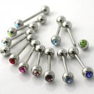 "Light Pink - Single 14g/ 5/8"" Steel Barbell Tongue/Nipple w/Crystal"