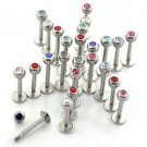 Set of 10 (Assorted Color) - 16g / 6mm Steel Labrets with 3mm Jewel Balls