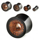 """9/16"""" / 14mm Pair of Double-Flared Hollow Plug in Black Horn and Coconut Wood"""