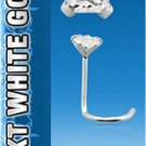 Single 14k White Gold Nose Screw with Square 2mm Clear Cubic Zirconia