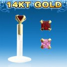 Garnet Single Clear Bio Flexible Labret with Square 2mm CZ Stone and 14k Gold Top