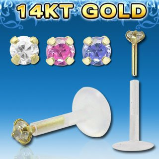 Clear Stone Single Bio Flexible Labret with Square 2mm CZ Stone and 14k Gold Top
