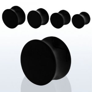 """1/2"""" / 12mm - Pair of Black Carnelian Natural Stone Double Flare Ear Plugs"""