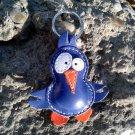 Cute Little Blue Bird Leather Animal Keychain - FREE shipping