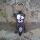 Leather Keychain Otter Gray - FREE Shipping Wordlwide - Handmade Leather Otter Bag Charm