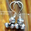 Silver matte double drops earring