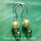 Pale green pearl and green crystal earrings