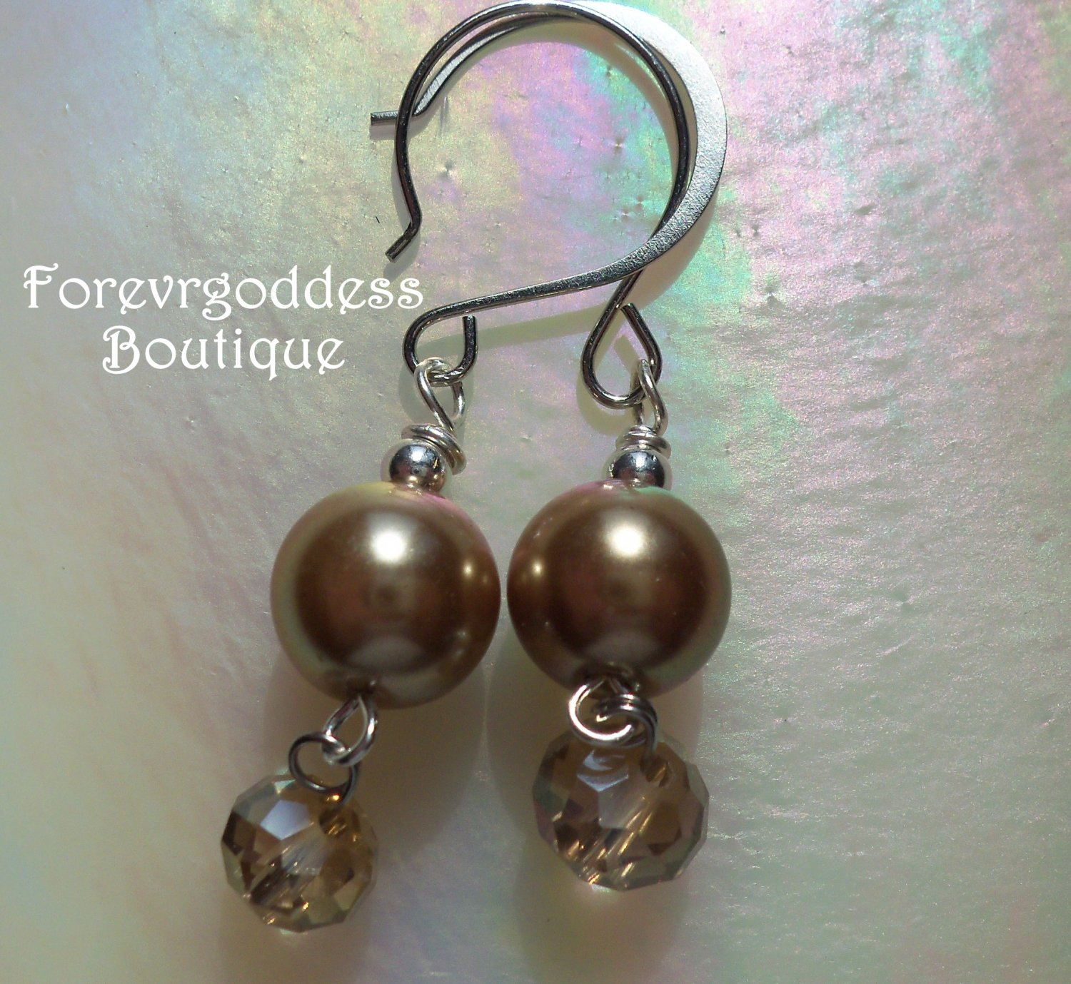 Gold  pearl and gold  crystal earrings