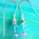 Aqua crystal and Purple crystal dangle