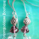 Pink bell and white crystal dangle