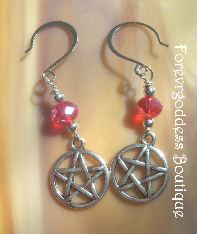 Red rondelle  crystals and Pentagram  earrings