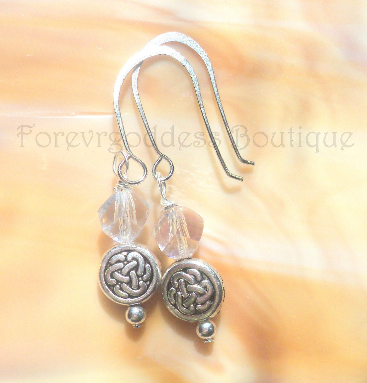 White crystals with Celtic Knots  earrings