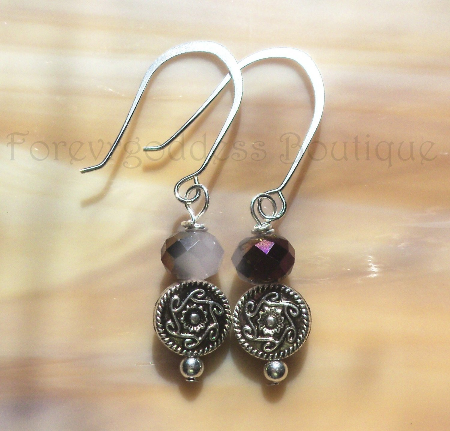 Burnt Purple crystals with Indian swirls earrings