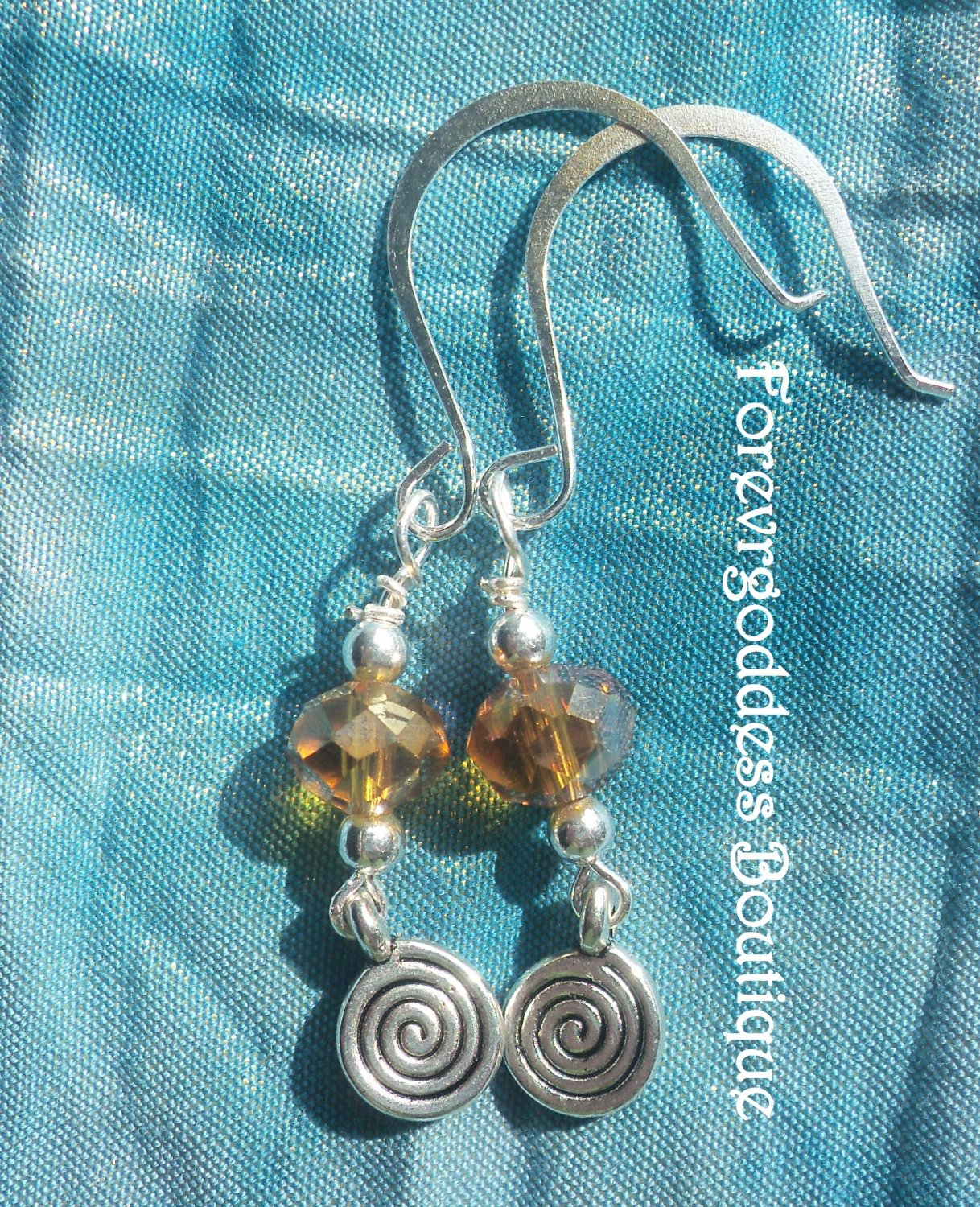 Yellow crystals and Swirl  earrings