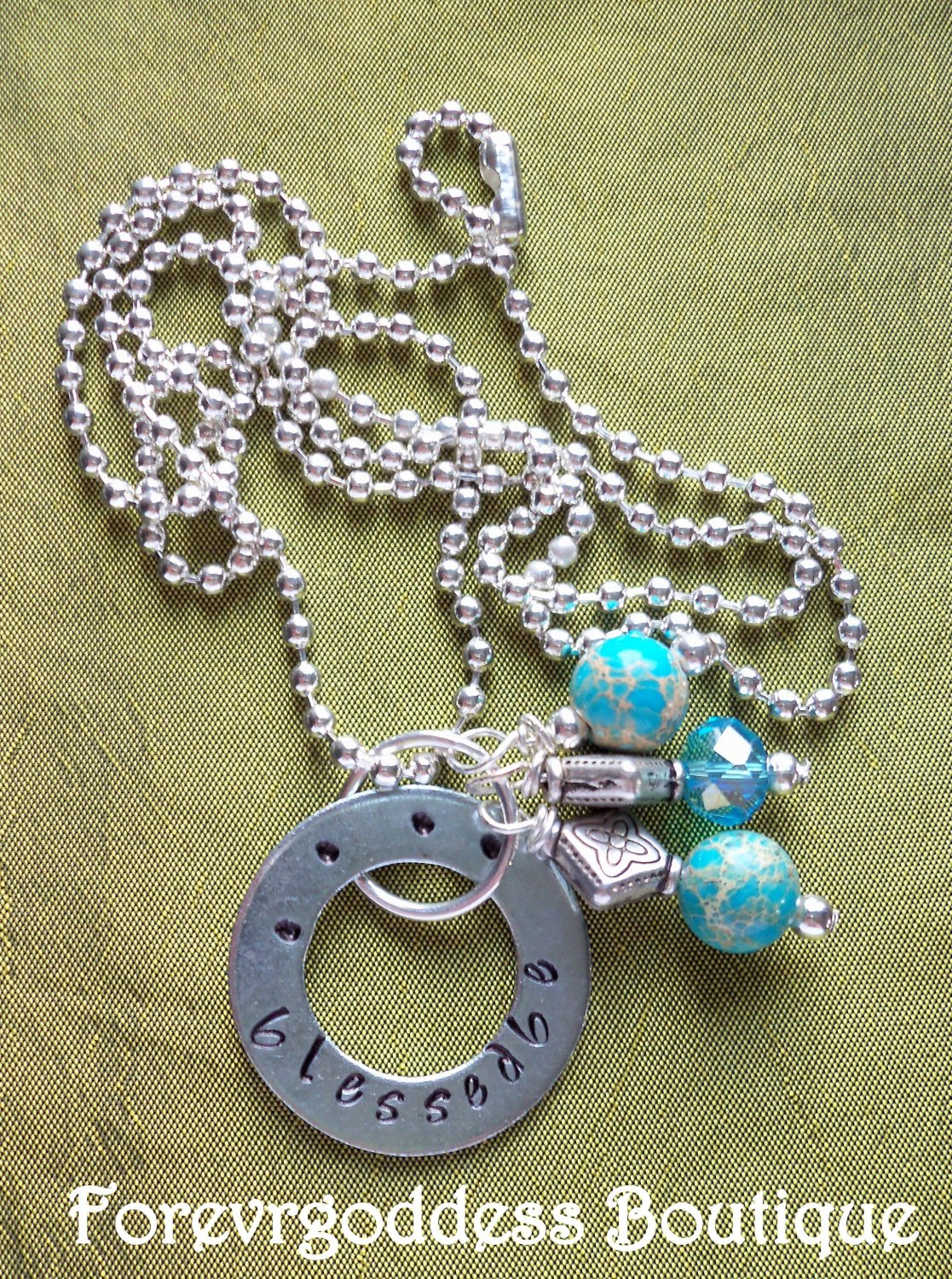 Blessed Be/ blue crazy lace necklace