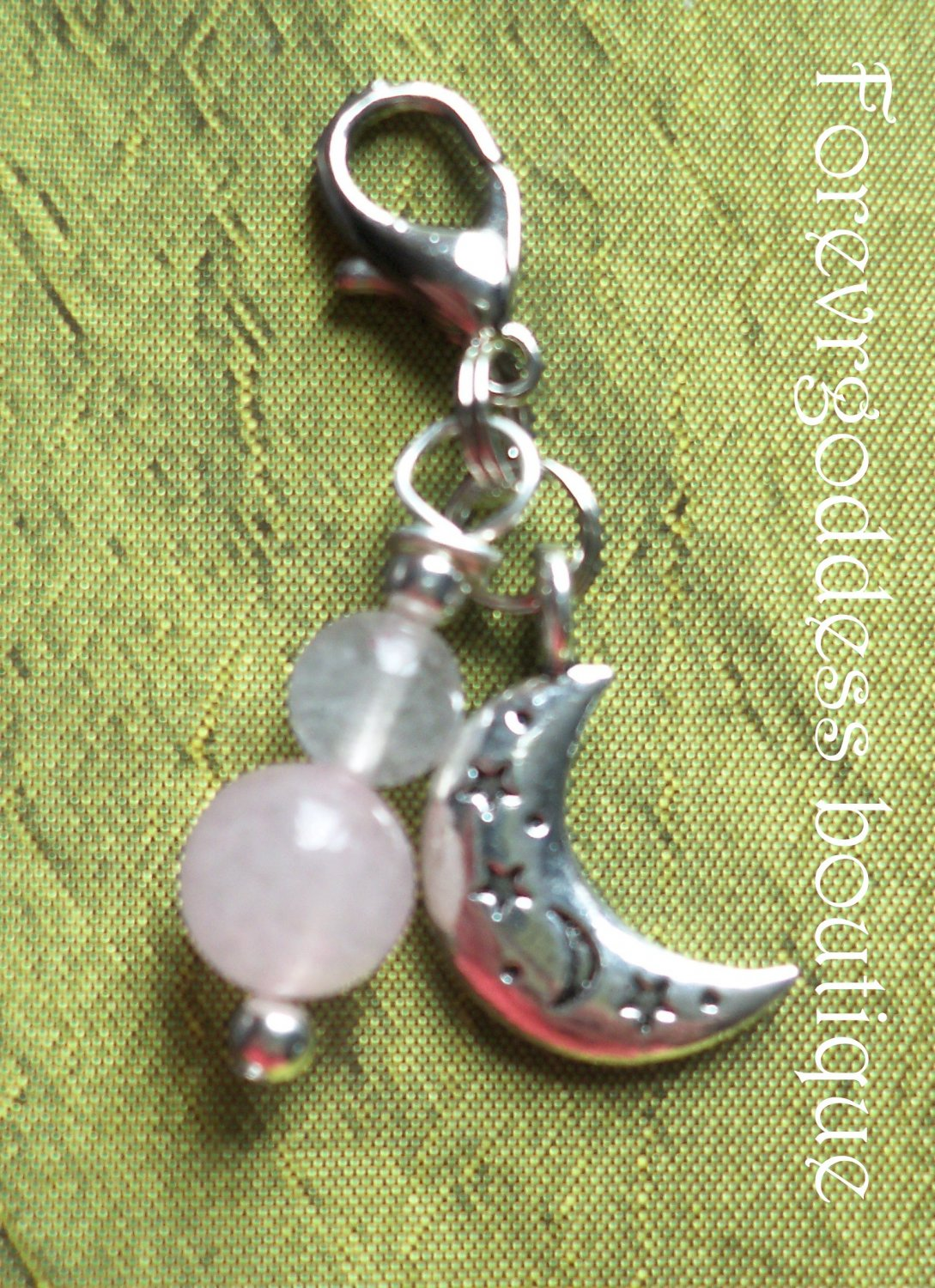 Rose Quartz/ moon  pet  pendant