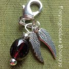 Garnet/ Angel wings pet  pendant