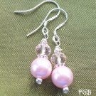 Pink pearl  sterling silver earrings