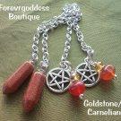 Gold stone/ Carnelian  matching  Pendulums