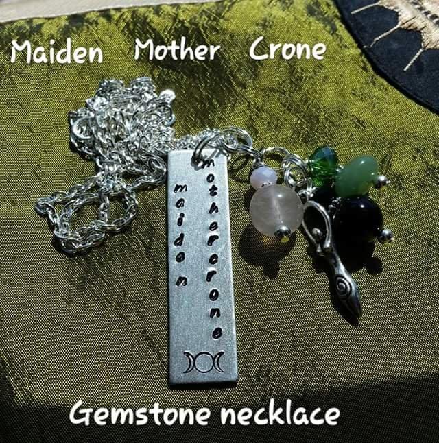 Triple goddess gemstone necklace #01