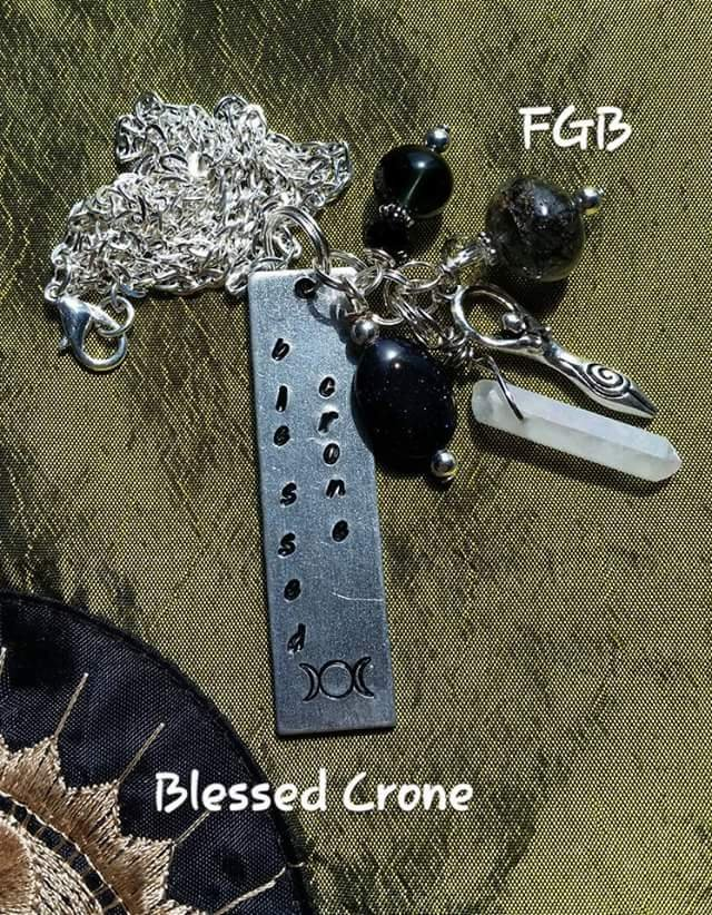 """ Blessed Crone "" handstamped gemstone nk #BC01"