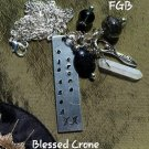 """ Blessed Crone "" handstamped gemstone nk #BC01"