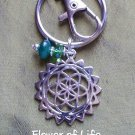 Flower of life -emerald Jade keychain 01A-B