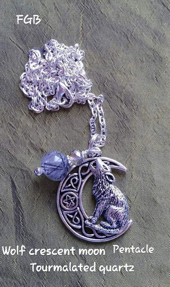 Wolf crescent moon pentacle necklace