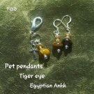 Pet pendants Tiger eye -Egyptian Anhk