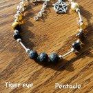 Tiger eye diffusers bracelet pentacle